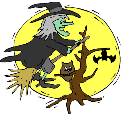Halloween Witch and bat
