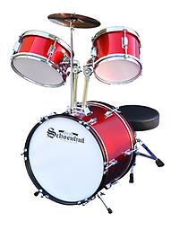 Schoenhut 5 Piece Drumset The perfect instrument for a JUNIOR ROCK STAR. Delivers great sound and incorporates many of the same features as a full-sized professional drum set