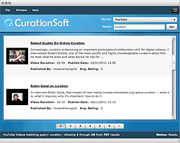 CurationSoft By design, CurationSoft is simple to use. Search by keyword, choose your content, drag and drop, add your commentary and post. Results are generated lightning fast and you'll find it's actually fun.