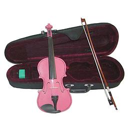Pink Children's Violin with Case & Bow This Pink Childrens Violin is an affordable violin for students of all stages. This violin features hand carved woods and a tremendous tone and quality for the price.