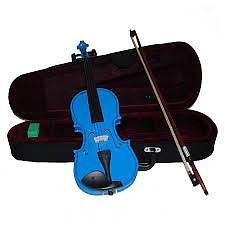 Blue Children's Violin with Case & Bow This Blue Childrens Violin is an affordable violin for students of all stages. This violin features hand carved woods and a tremendous tone and quality for the price.