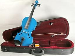 Light Blue Children's Violin with Case & Bow This Light Blue Childrens Violin is an affordable violin for students of all stages. This violin features hand carved woods and a tremendous tone and quality for the price.