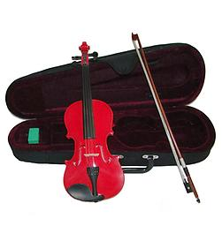 Red Children's Violin with Case & Bow This Red Childrens Violin is an affordable violin for students of all stages. This violin features hand carved woods and a tremendous tone and quality for the price.