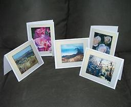 """Art Cards: Set of 5 Set of 6""""x8"""" Greeting Cards with envelopes, displaying five of the artist's beautiful paintings. Blank inside for your own personal note."""