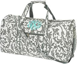 Grey Floral Large Duffel Travel in style!