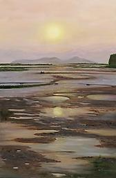 """""""""""Sunset on Gastineau Channel"""" Archival giclee on canvas, gallery wrapped and ready for hanging or framing. Produced in USA. 36""""H X 24""""W"""