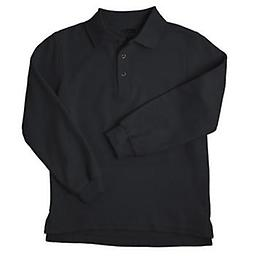 Youth Black LS Pique Polo