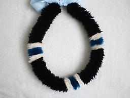 1st cut Lei Wili Poepoe black, aqua blue and white bands