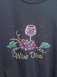 Wine Diva T shirt Black t shirt with a glass of wine, grapes and Wine Diva bejeweled.