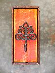 """Decorative Hooks, Cast Iron and Wood Wall Hook, Log Home Decor, Rustic, Lake and Lodge, Red Floral - Decorative hooks made of cast iron and salvaged wood. Measurements are approximately 6"""" x 14"""". Distressed Red Background. Cast Iron Hook with Floral Design, Wall Hook, Coat Hook, Multipurpose Hooks,"""