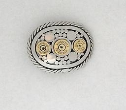 """.30.30 / .357 This buckle is 1-1/2"""""""", schedule 40 stainless steel pipe with a solid stainless steel rope edging. It is shown with all Winchester, once fired shells, but you can chose any brand of shells you wish."""