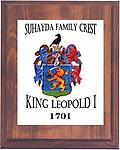 Family Crest Plaque - Your Family Crest designed on cherry wood with white metal plate, with your inscription, to display on your wall. You can also order your crest on hats, t-shirts, sweatshirts, or Polo shirts.