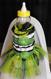 Lime Green and Zebra Tutu Diaper Cake Includes 75 diapers, tutu with matching hair bows