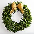 "Gold Ribbon Bay Laurel Wreath, 22"" - This decorative and aromatic wreath is beautiful hung over the fireplace or outside your main door. Makes a great gift! Additional sizes offered upon request."