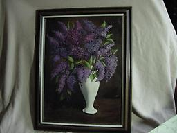 3105 Purple Lilacs in a White Vase 3105 Purple Lilacs in a white vase - oil