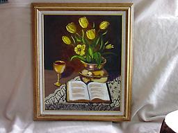 3166 Easter Still Life with yellow tulips 3166 Easter still life - oil
