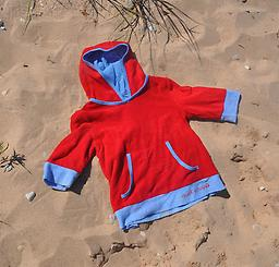 Ducksday Summer Beach Poncho - Red/Blue Ducksday Beachwear is 100% cotton terry with cotton lining. A coordinating and absorptive cover-up with a hood. Available in sizes 2, 4, and 6, in colors for boys or girls.