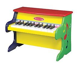 Melissa & Doug Learn to Play Piano The Melissa & Doug Learn-to-Play Piano features 25 keys and 2 full octaves. Young musicians will enjoy exploring high and low notes and loud and soft sounds.
