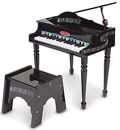 Melissa and Doug Grand Piano Here's an elegant introduction to playing the piano. Classically styled grand piano features a lifting top with safety hinge, 30 piano keys, songbook with color-coded key chart and a sturdy bench