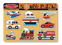 Melissa and Doug Vehicle Sound Puzzle Featuring detailed images of 8 favorite noisy vehicles, this wooden peg puzzle makes the vehicle sound when a piece is placed correctly in the puzzle board!