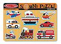 Melissa and Doug Vehicle Sound Puzzle - Featuring detailed images of 8 favorite noisy vehicles, this wooden peg puzzle makes the vehicle sound when a piece is placed correctly in the puzzle board!