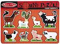 "Melissa and Doug Farm Animals Puzzle - Each happy farm animal ""sounds off"" in its own voice when its animal puzzle piece is placed correctly in this eight-piece wooden peg puzzle!"