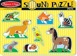 "Melissa and Doug Pets Sound Puzzle Some of our favorite pets are waiting to ""speak"" to your child. Place the puzzle piece into the well with the matching picture on the puzzle board and hear the animal meow, woof or tweet!"