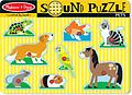 "Melissa and Doug Pets Sound Puzzle - Some of our favorite pets are waiting to ""speak"" to your child. Place the puzzle piece into the well with the matching picture on the puzzle board and hear the animal meow, woof or tweet!"
