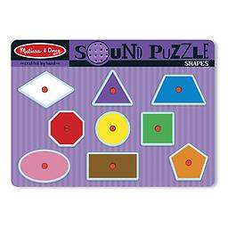 """Melissa and Doug Shapes Sound Puzzles Matching and listening skills will """"get in shape"""" when your child places a shaped puzzle piece into the correct place on the puzzle board."""