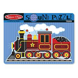 """Melissa and Doug Train Sound Puzzle """"Whoo, whoo"""" says the old-fashioned steam engine when all nine puzzle pieces are placed in the board."""