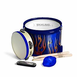 Fun in a Drum - Tire Treads Blue Instant parade! First Act Discovery's Fun in a Drum is four instruments packed into one! The parade-style marching drum with tunable head has real drum tone and a carrying strap.