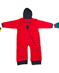 Ducksday Fleece (Red) - DucKsday's high-quality fleeces provide a warm layer. Cute on their own for chilly days. Paired with a rainsuit, they create a flexible solution for any weather.