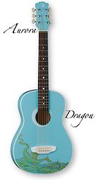 Luna Guitars 3/4 Size Nylon String Guitar Dragon Graphic This guitar's petite size makes it an instrument that's ideal for learning and comfortable to play. The Aurora Dragon Mini Acoustic comes with its own gig bag featuring the Luna Guitars' logo.