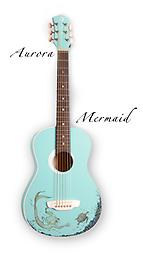 Luna Guitars 3/4 Size Nylon String Guitar - Mermaid Design The fun Aqua Splash finish is as inviting as a cool dip on a summer day, and the guitar's petite size makes it an instrument that's ideal for learning and comfortable to play.