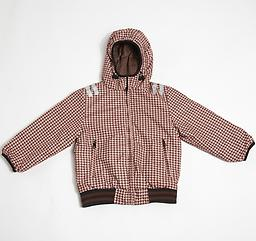 Ducksday Reversible Jacket (Houndstooth/Brown/Peach) Reversible Jacket (one side solid, coordinating print on the reverse) is winter-weight with attached hood and elastic cuffs and waist.