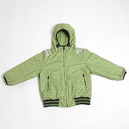Ducksday Reversible Jacket (Funky Green/Green) Reversible Jacket (one side solid, coordinating print on the reverse) is winter-weight with attached hood and elastic cuffs and waist.