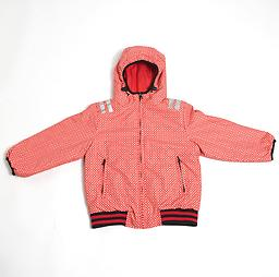Ducksday Reversible Jacket (Funky Red/Red) Reversible Jacket (one side solid, coordinating print on the reverse) is winter-weight with attached hood and elastic cuffs and waist.