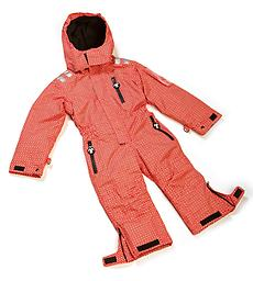 Ducksday Ski Suit (Funky Red) One-piece ski suits for kids on the move! Funky Red SkiSuits coordinate with our Red or Funky Red Mittens, and with other Red and Funky Red DucKsday gear.