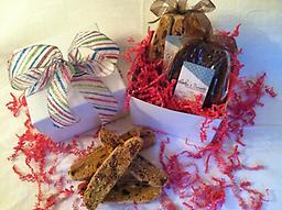 Biscotti Gift Box - Small Our exquisite small gift box contains 2 gourmet biscotti bags. Each gift is finished with a festive ribbon and a hand written gift card.