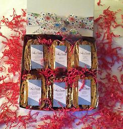 Biscotti Gift Box- Large Our exquisite large gift box contains 6 gourmet biscotti bags. Each gift is finished with a festive ribbon and a hand written gift card.
