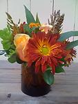 Simply Thankful - This sweet compact design makes a great hostess gift for Thanksgiving. Roses, rover mums, and asclepias combine in a perfect way to show your thanks and appreciation.