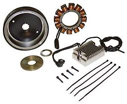 "1 1/4"" diameter with 31"" width V-FACTOR 32 AMP Charging System Fits Big Twin models 1970/1999 (except Twin Cam & EFI models) Features performance rotor with rotor spacers integrated into housing (Imported)"