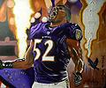Ray Lewis-Never More (Canvas Print) - Original Acrylic painting of Super Bowl Champion Ray Lewis in a moment of celebration. Never More refers to the Baltimore poet Edgar Allan Poe and the fact that Ray Lewis will never more be a champion