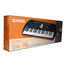 Casio 44 Key Mini Keyboard, Orange The 44 key Casio SA-76 offers children the essentials for playing those first tunes. 100 tones, 50 rhythms and 10 integrated songs provide variety.