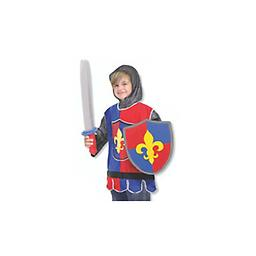 """Knight Role Play Costume Set A fabric tunic, a """"chain mail"""" hood, and durable foam sword and shield will transform your young adventurer into a valiant knight!"""