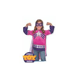 Super Hero Girl Role Play Costume Set Here she is to save the day! This hero can spy trouble through her reversible mask and race to the rescue with a swish of her cape!