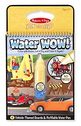 Water WOW! Vehicles - ON the GO Travel Activity No-mess painting for kids! This exciting paint-with-water Vehicles coloring book includes four reusable pages and a refillable water pen.