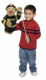 Firefighter Puppet - Melissa and Doug Puppets Chief Walter Blaze is always on duty and ready with his protective hard hat and reflective coat to save the day!