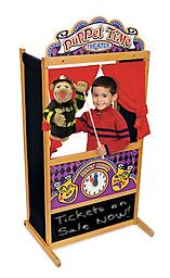 Melissa and Doug Puppet Theater It's show time! This wooden puppet theater has been designed with a sturdy, non-tip base and plenty of room inside for a puppeteer or two!