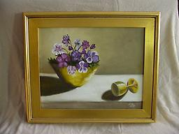 """3201 Pansies with Brass 16 x 20"""", oil on canvas, framed $250.00"""